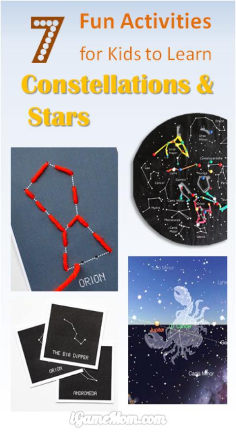fun activities for kids to learn stars and constellations. STEM projects for young astronomers for the summer night stargazing party