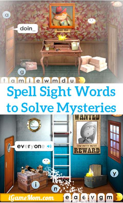 A fun sight word app for kids Mystery Word Town