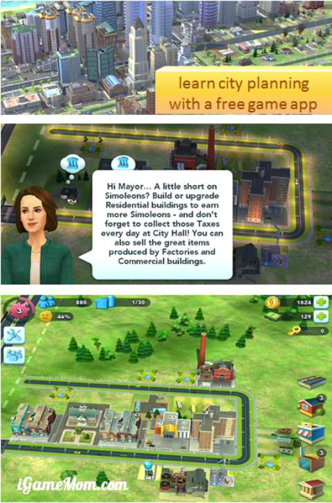 SimCity BuildIt Free app to learn about city planning and building