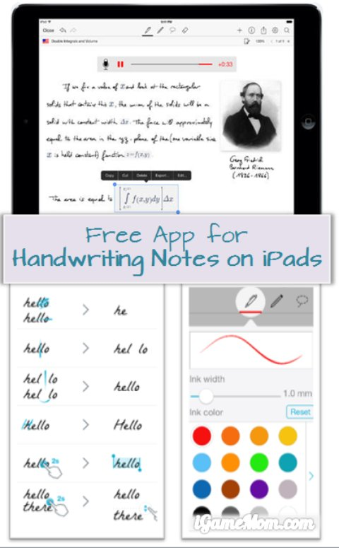 free app for handwriting notes on tablets like iPad