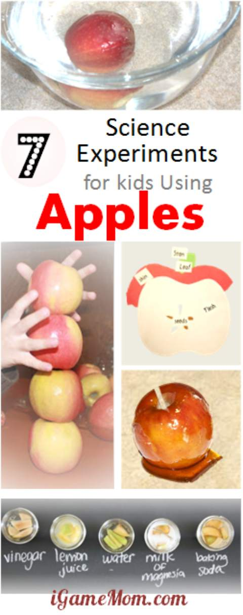 7 yummy science experiments for kids using apples. Why does cut apple change color? How to prevent it from turning brown? Does apple float? Fun kitchen STEM activities for home, school or homeschool.