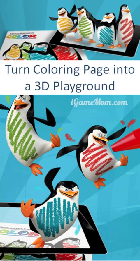 Turn color page into 3D playground DreamWorks color app