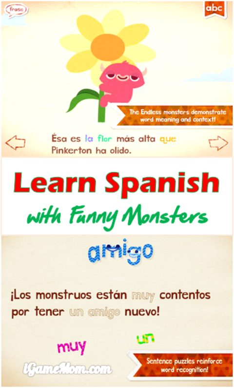 Endless Spanish fun app for kids to learn Spanish with cute monsters