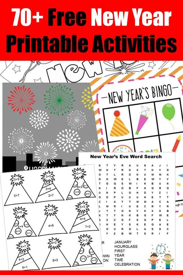 Free New Year Printable Activities for kids, enjoy the New Year's Eve and celebrate New Year with as a family.
