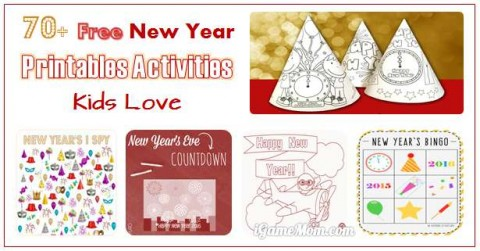 free printable activities for kids New Year Eve