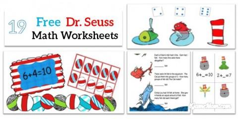 Free Dr Seuss math printable worksheet preschool school kids