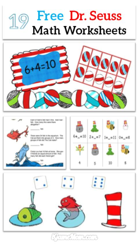 math worksheet : free dr seuss math printable worksheets for kids  igamemom : Math Worksheets For Kindergarten Free