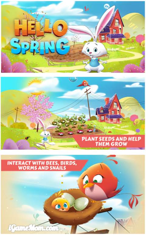 hop into the spring with bunny - a free spring gardening app for preschool kids