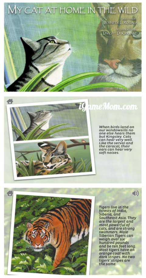 Book app teaching kids big cats in the wild through pet cat at home