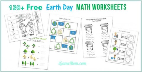Earth Day Math Printable Worksheet preschool kindergarten elementary school