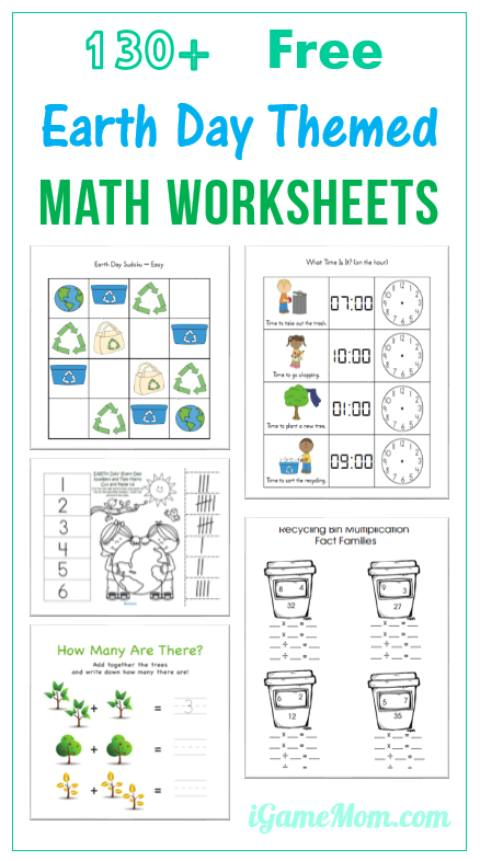 Earth Day Math Printable Worksheets for preschool kindergarten to school age kids