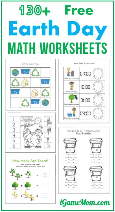 Free Earth Day Math Printable Worksheets for Kids in preschool kindergarten to grade 5. Some allows you to generate more worksheets of the chosen template and content, such as two-digit addition.