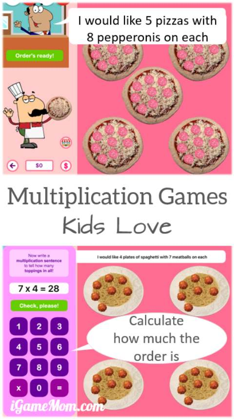 Multiply pizza pie multiplication app for kids