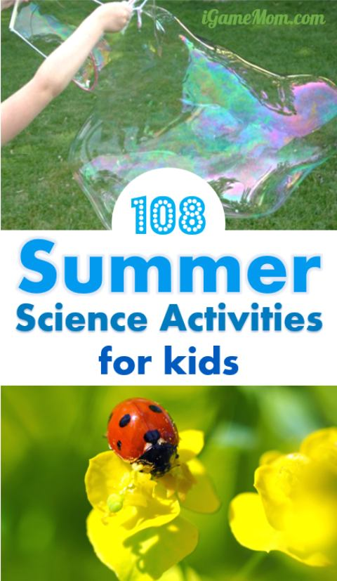 hands-on science activities for kids, in your backyard, at the park, in your kitchen -- bird, bug, rain, wind, sun, moon, sand, water, ice, ... so many interesting summer STEM ideas for kids.