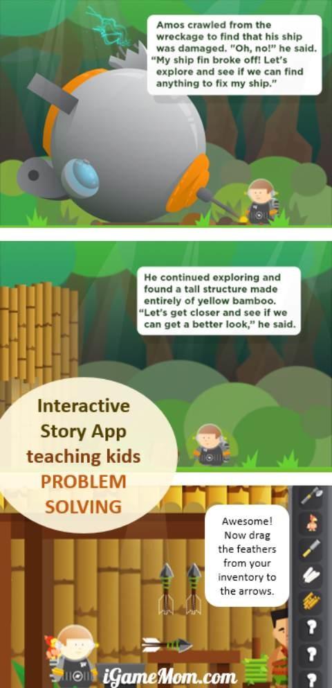 interactive story app Amos the Astronaut teaching kids problem solving skills