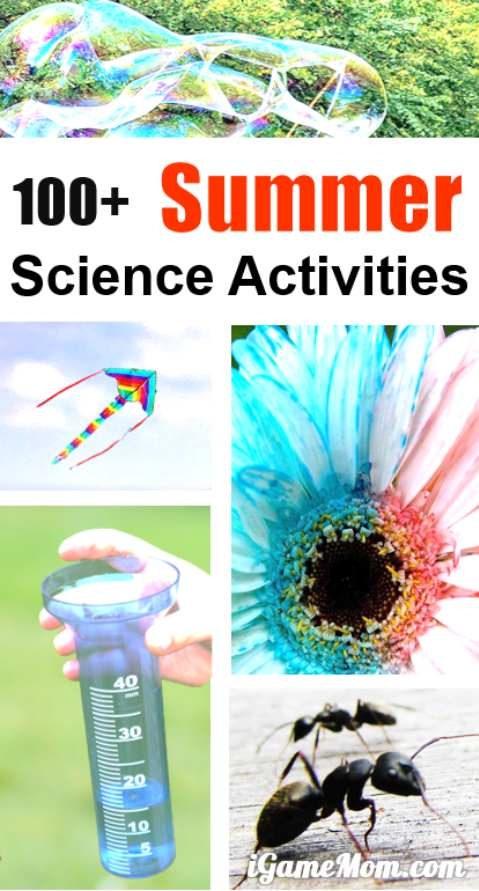Hands-on easy summer science activities for kids, in backyard, at the park, in your kitchen -- bird, bug, rain, wind, sun, moon, sand, water, ice, ... so many interesting summer STEM ideas for kids.