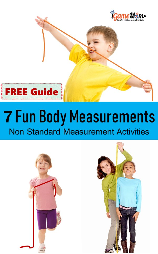 Fun nonstandard measurement activities for preschool to school age kids, measure body with a piece of string. Kids learn number comparison and measurement and fun human body facts.