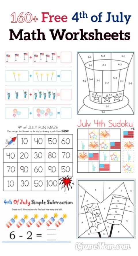 4th of July Free Math Printable Worksheets for kids from preschool to kindergarten to grader 5, easy math activities to prevent summer slide.