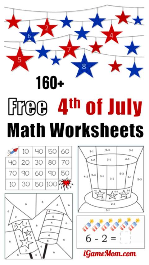 Free 4th of July math printable worksheets for preschool to grade 5 students. Easy quiet activities to keep kids engaged for the Red White Blue celebration.