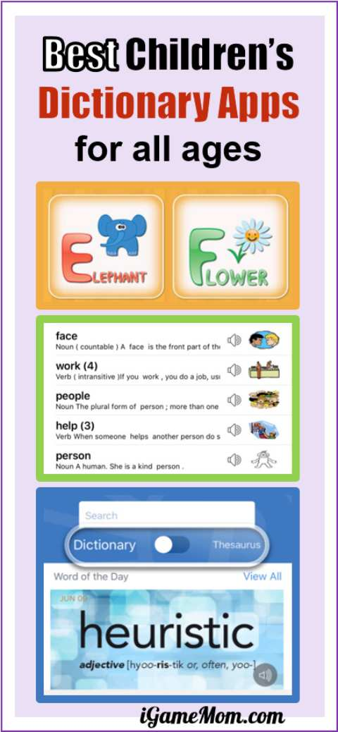 Best Children's Dictionary apps for kids from preschool kindergarten to high school and college. Several are free. Kids don't have to carry heavy books anymore, but need learn new dictionary skills, such as looking up words by speaking it. | digital learning tools