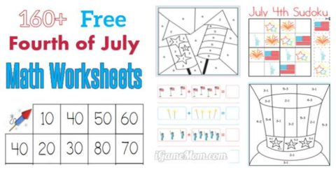 free July 4th math printable worksheets for kids