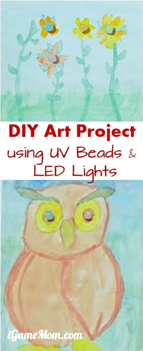 DIY Art Project for kids using UV beads and LED lights, combining science, electrical engineering, art in one, a great STEM / STEAM activity for kids of any age, from preschool up.