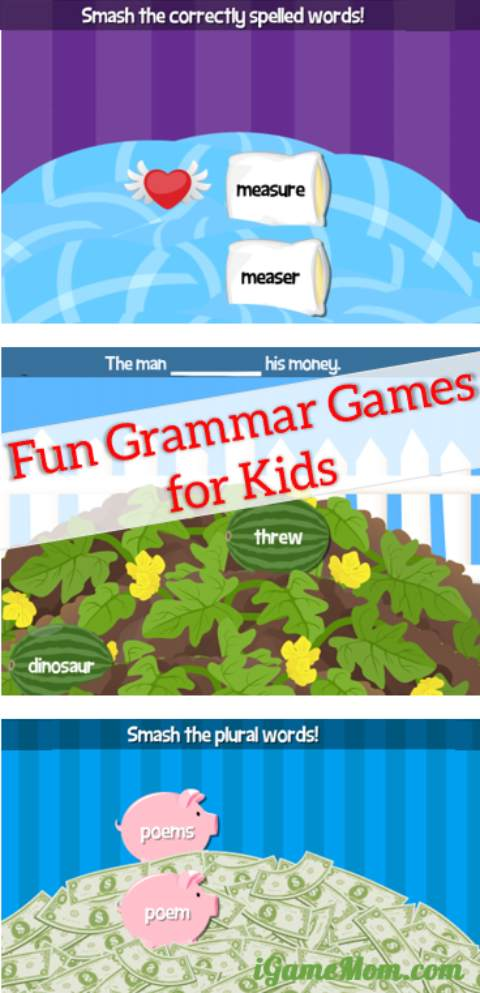 Fun grammar game app for elementary school kids with interactive activities for noun, verb, tense, spelling, and more. Great supplement practice for English class and homeschool.