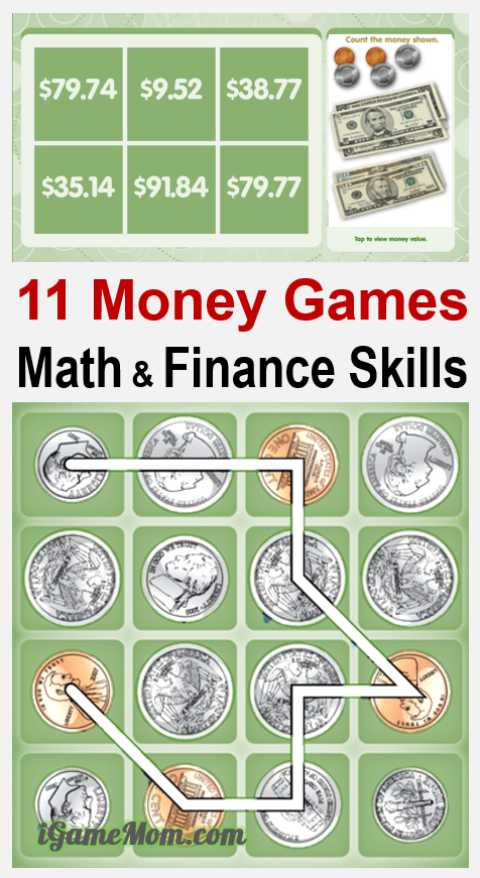 Raise money smart kids with fun games teaching basic finance skills: count and calculate money value, know how much to spend, save and invest. For preschool kindergarten school age kids.