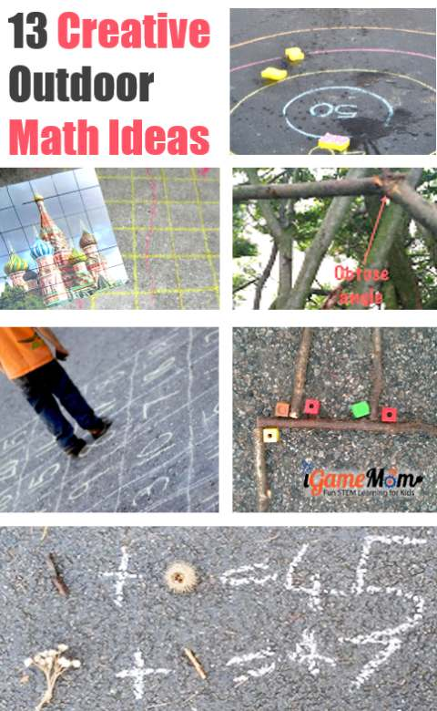 Creative outdoor math activity ideas for kids from preschool to high school. Stop summer slide with fun STEM activities to learn numbers, shapes, angles, algebra, geometry, math problem solving.