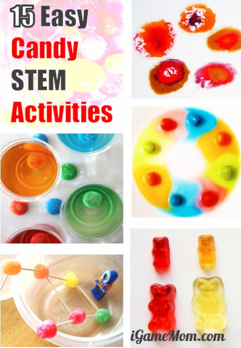 Easy Candy STEM activities for kids of all ages, no prep needed. Math, Science, Engineering, Tech | Halloween Valentine Easter