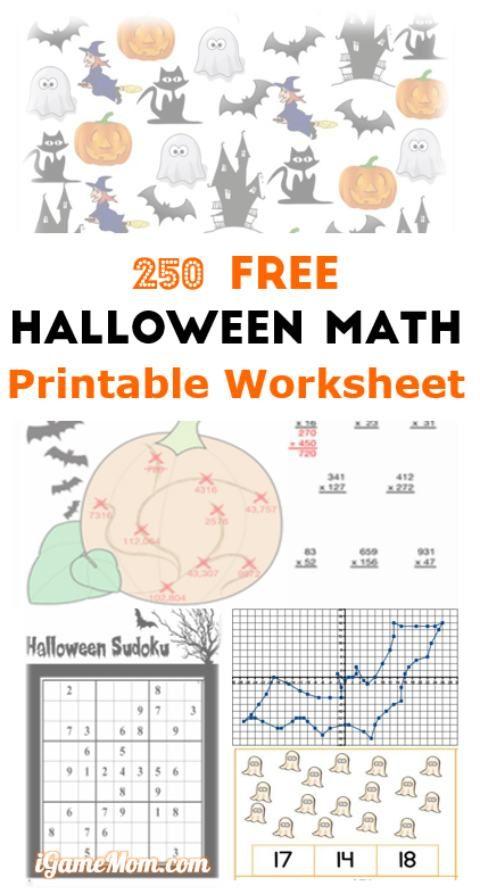 free halloween math printable worksheets