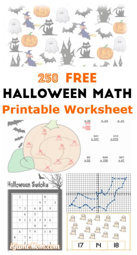 Free Halloween math printable worksheets to channel kids excitement into engaging math practice, from preschool to fifth grade.