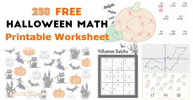 250 Free Halloween Math Printable Worksheets