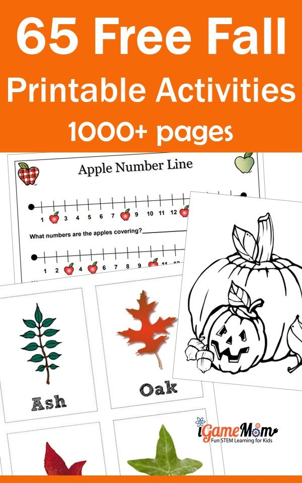 Fall themed free printable activities for kids: numbers, science, color. Fun autumn themed learning preschool to school age students.