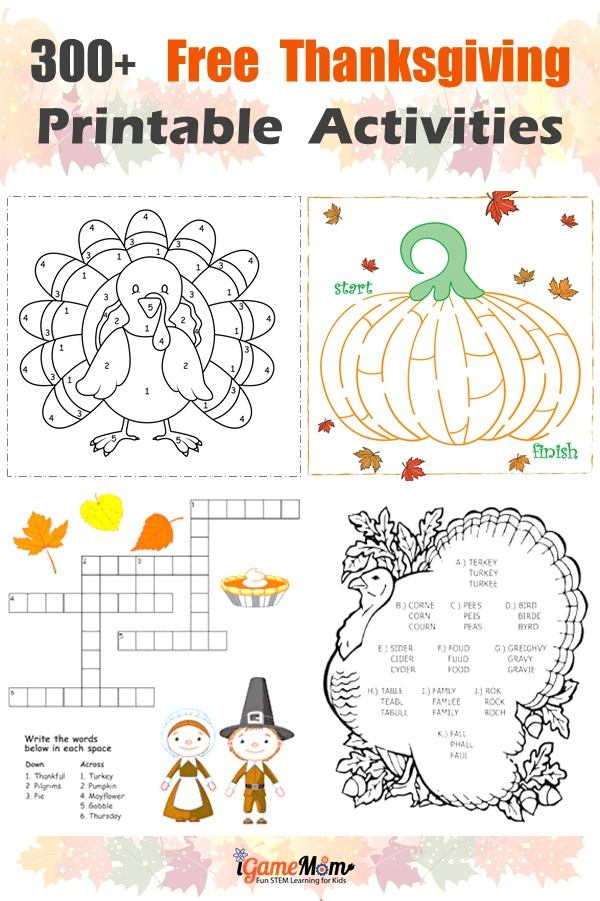 Free Thanksgiving Printable Learning Activities and worksheets. Fun holiday educational activities for kids from preschool to kindergarten to school age: math, crafts, words, spelling, reading comprehension, coloring, games, and more.