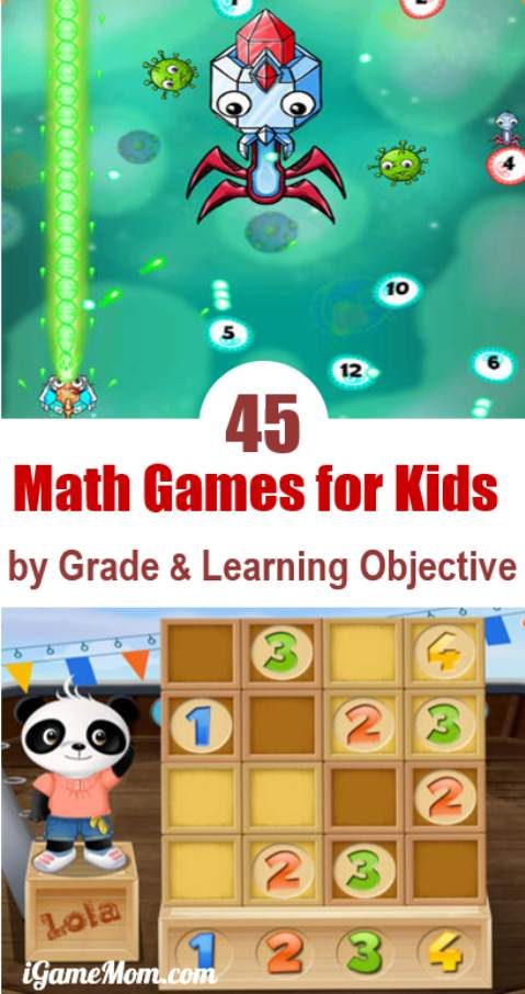45 Math Game Apps for Kids, grouped by Age and Learning Objective, including math games for preschool, kindergarten, and grade 1 to grade 12, with math facts practice, critical and logical thinking, word math problems, and more. They are fun and practicing math is not boring anymore!