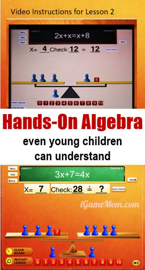 Hands on algebra for kids before middle and high school. A wonderful teaching app with intuitive learning and practice activities helping kids grasp algebra concepts that are different from arithmetic math for elementary school students.