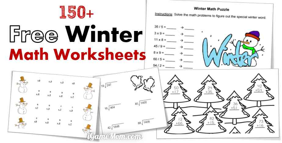 free winter math printable worksheets