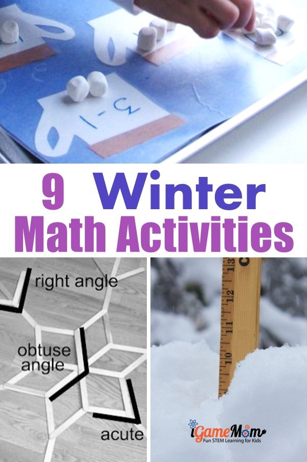 winter math activities kids from preschool kindergarten to middle school, snowflake math, acorn math, hot chocolate math, ...