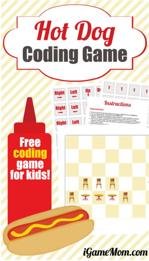 Free coding games for kids: Hot Dog Coding Game, plus activity ideas on teaching the 5 most important coding skills to kids with the free game.