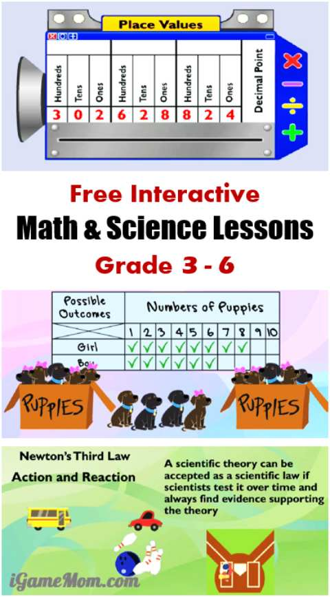 free math science interactive lessons for kids in grade 3 to 6, search by grade, subject, topic. Wonderful supplement to classroom teaching, homeschool or after school at home