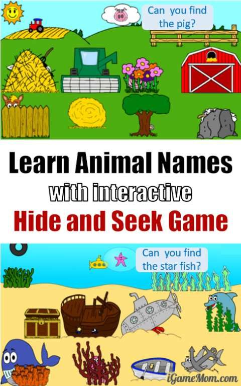 hide and seek vocabulary game for toddlers - Animal Pictures For Toddlers