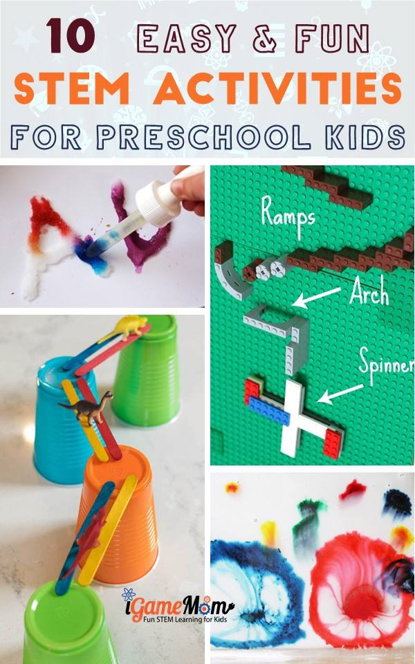 Easy Preschool STEM Activities, preschoolers toddlers, Science Tech Engineering Math Activities