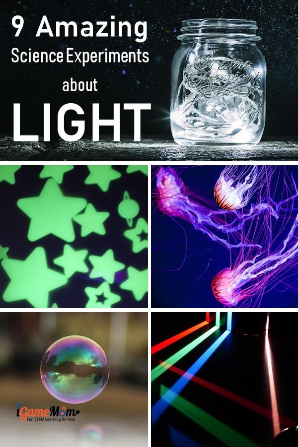 Five senses science experiments for kids learn about light and the sense of seeing: reflection, prism, UV light, ... Fun STEM activities for science class, science fair, science camp, for kids all ages