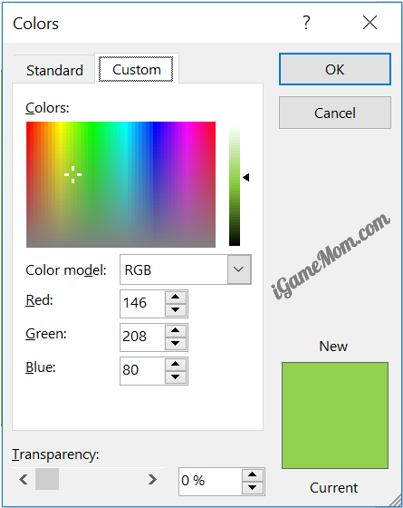there are two ways to learn color codes in this window while picking the color for the selected part