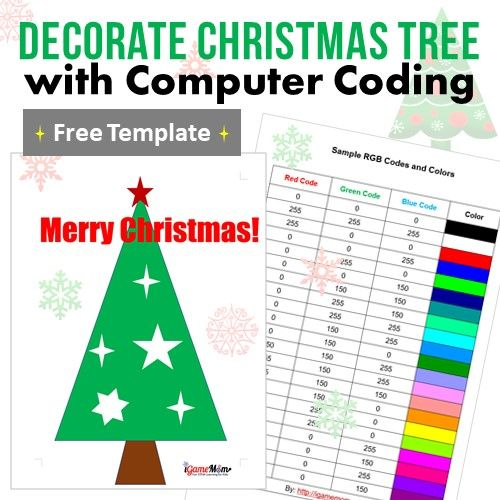 Coding for Kids: decorate Christmas tree with computer coding. Fun activity to learn RGB code and basic computer commands and coding concepts for beginner boys and girls. Fun Hour of Code idea.