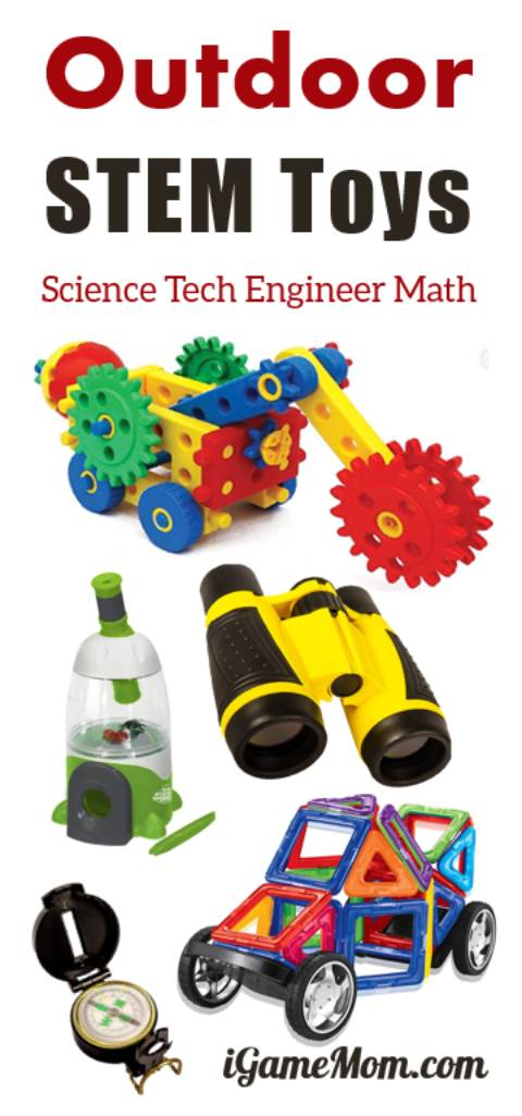 Fun STEM toys for kids to explore and learn science technology engineering math while they enjoy outdoor activities. Ideas for preschool to school age kids | backyard family fun