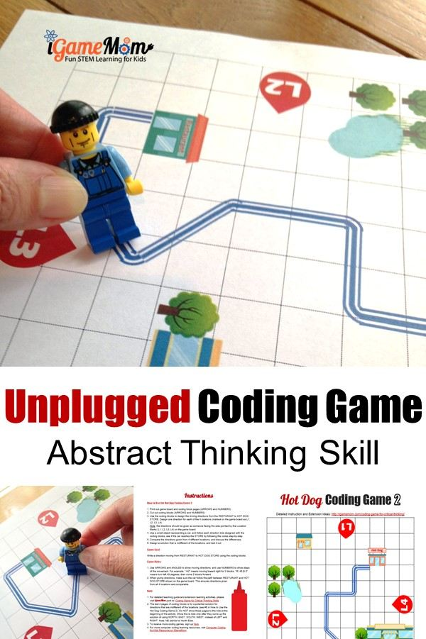 printable coding game teaching kids abstract logic thinking skills. Unplugged STEM activities for students to learn computer coding off screen.