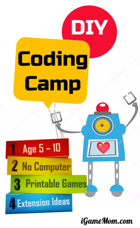 DIY coding camp for beginner at home for kids age 5 to 10, teach girls and boys programming skills with 5 printable games + extension activity ideas | STEM camp | tech camp | homeschool | ICT | Hour of Code