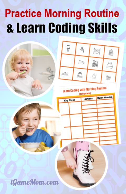 Learn computer coding via everyday life activity for kids, with morning routine chart